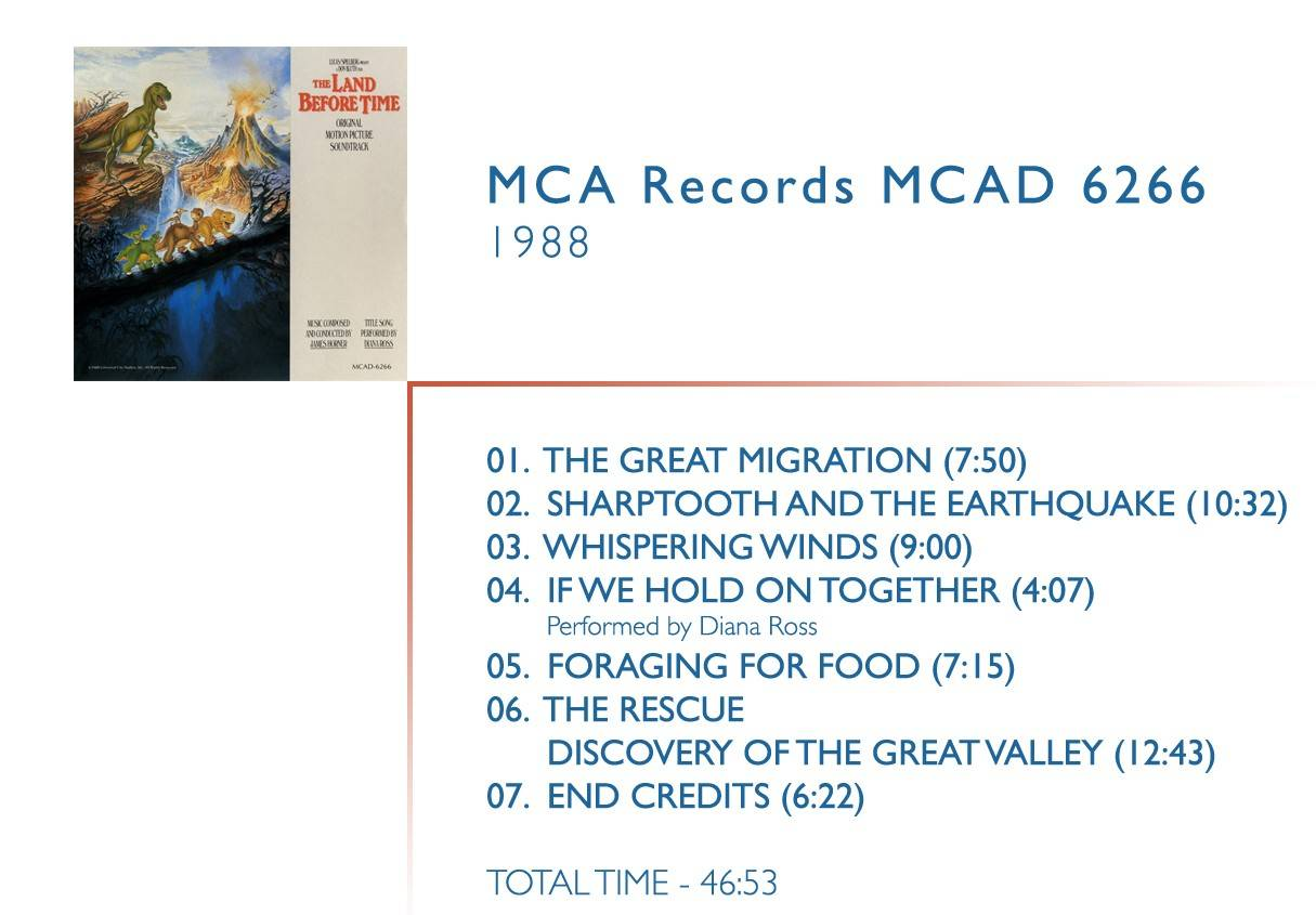 1.  	The Great Migration (07:50) 2.  	Sharptooth and The Earthquake (10:32) 3.  	Whispering Winds (09:00) 4.  	If We Hold On Together (04:07) Performed by Diana Ross 5.  	Foraging For Food (07:15) 6.  	The Rescue / Discovery Of The Great Valley (12:43) 7.  	End Credits (06:22)