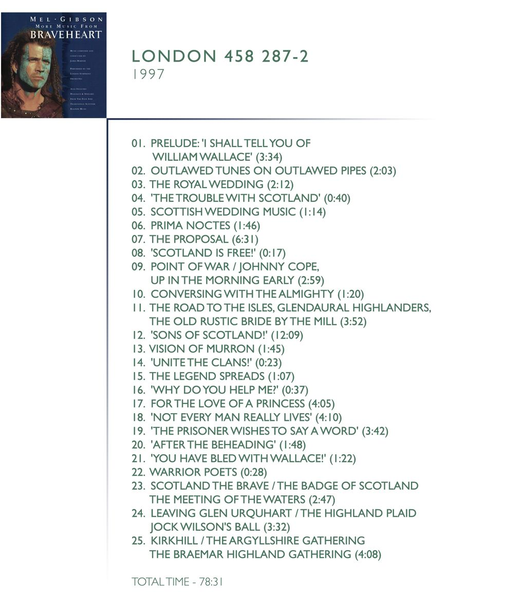 """1.  Prologue / """"I Shall Tell You Of William Wallace"""" (03:34) 2.  Outlawed Tunes On Outlawed Pipes (02:03) 3.  The Royal Wedding (02:12) 4.  """"The Trouble With Scotland"""" (00:40) 5.  Scottish Wedding Music (01:14) 6.  Prima Noctes (01:46) 7.  The Proposal (06:31) 8.  """"Scotland Is Free"""" (00:17) 9.  Up In The Morning Early Point Of War Johnny Cope (02:59) 10.  Coversing With The Almighty (01:20) 11.  The Old Rustic Bridge By The Mill The Road To The Isles / Glendaruel Highlanders (03:52) 12.  """"Sons Of Scotland"""" (12:09) 13.  Vision Of Murron (01:45) 14.  """"Unite The Clans"""" (00:23) 15.  The Legend Spreads (01:07) 16.  """"Why Do You Help Me"""" (00:37) 17.  For The Love Of A Princess (04:05) 18.  """"Not Every Man Really Lives"""" (04:10) 19.  """"The Prisoner Wishes To Say A Word"""" (03:42) 20.  """"After The Beheading"""" (01:48) 21.  """"You Have Bled With Wallace"""" (01:22) 22.  Warrior Poets (00:28) 23.  Scotland The Brave / The Badge Of Scotland (02:47) 24.  Jock Wilson's Ball Leaving Glen Urquhart / The Highland Plaid (03:32) 25.  The Braemar Highland Gathering Kirkhill / The Argyllshire Gathering (04:24)"""